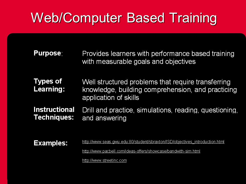 Web/Computer Based Training