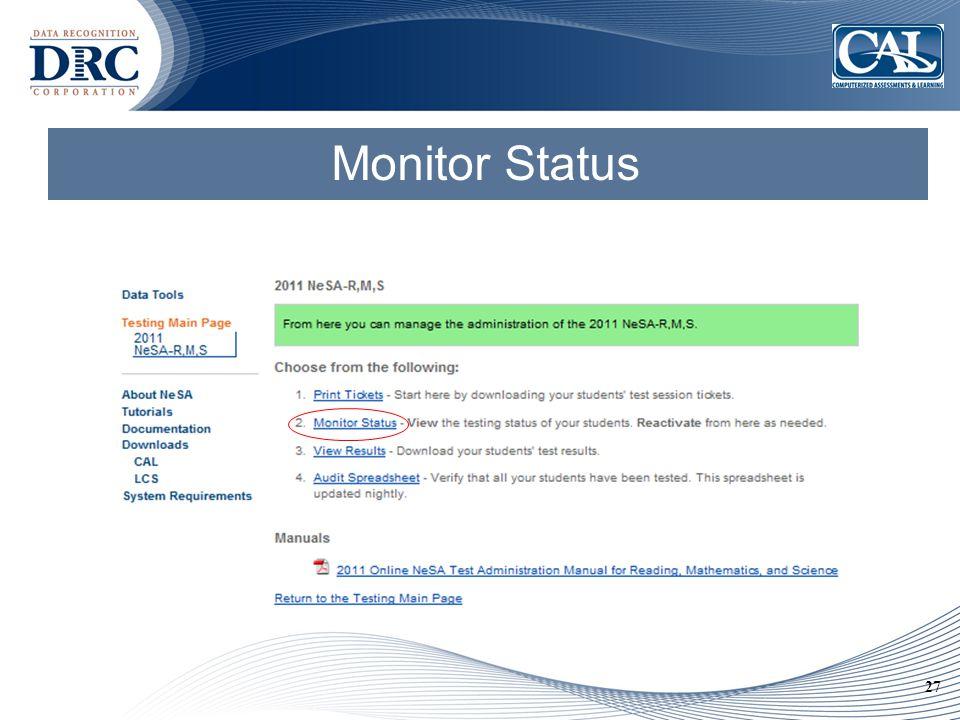 27 Monitor Status