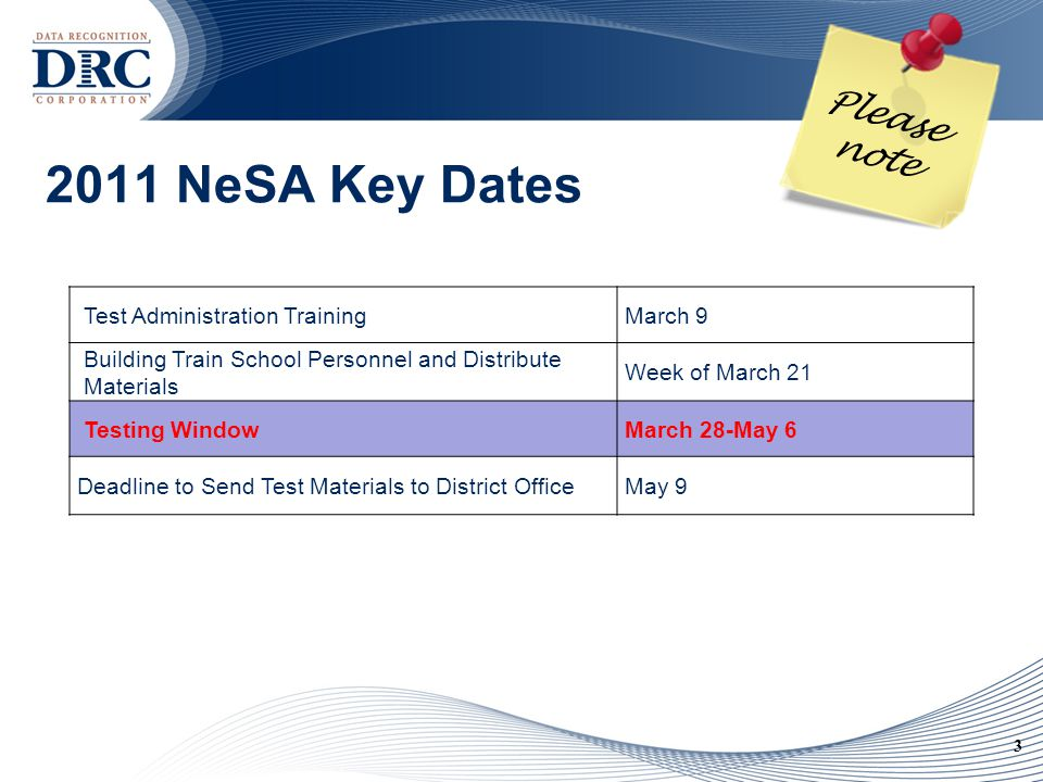 3 2011 NeSA Key Dates Test Administration TrainingMarch 9 Building Train School Personnel and Distribute Materials Week of March 21 Testing WindowMarch 28-May 6 Deadline to Send Test Materials to District OfficeMay 9 Please note