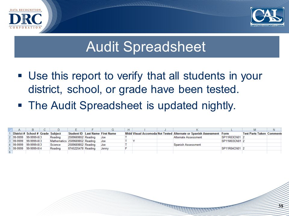 38 Audit Spreadsheet  Use this report to verify that all students in your district, school, or grade have been tested.