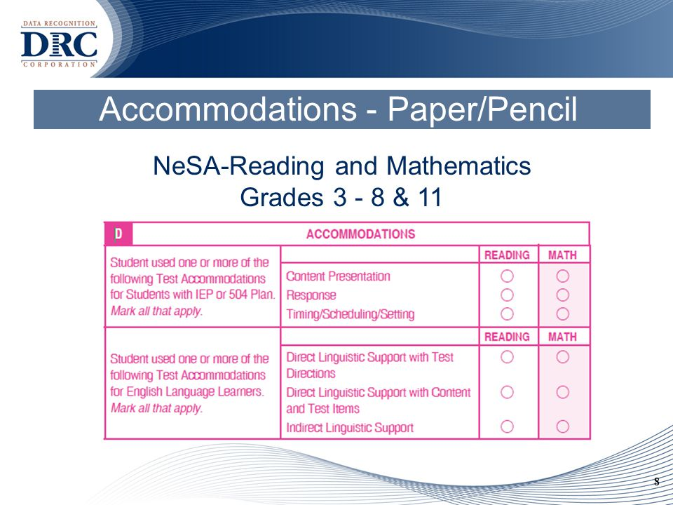 8 Accommodations - Paper/Pencil NeSA-Reading and Mathematics Grades 3 - 8 & 11