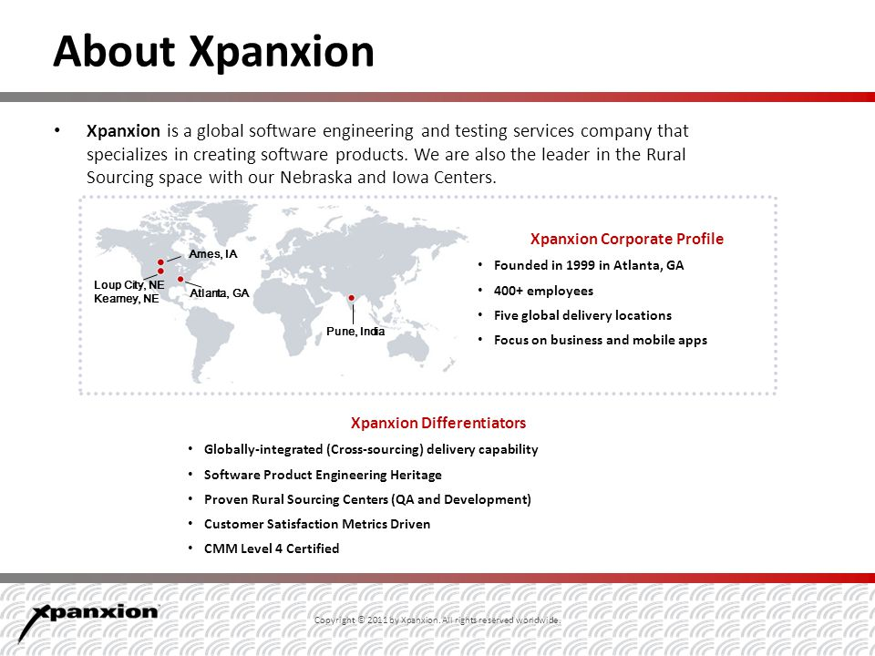 About Xpanxion Xpanxion is a global software engineering and testing services company that specializes in creating software products.