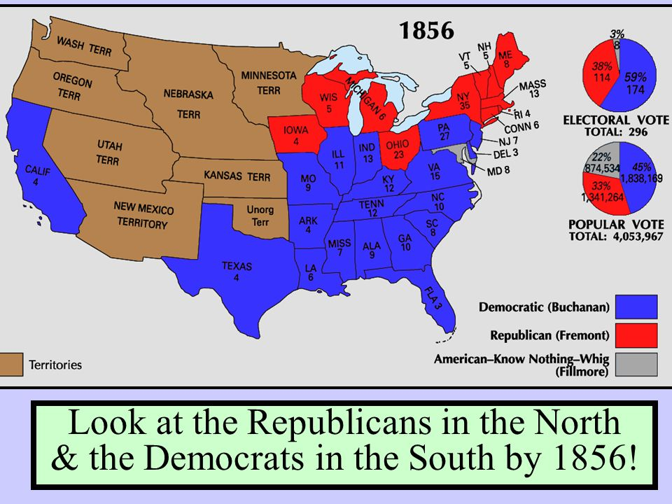Look at the Republicans in the North & the Democrats in the South by 1856!