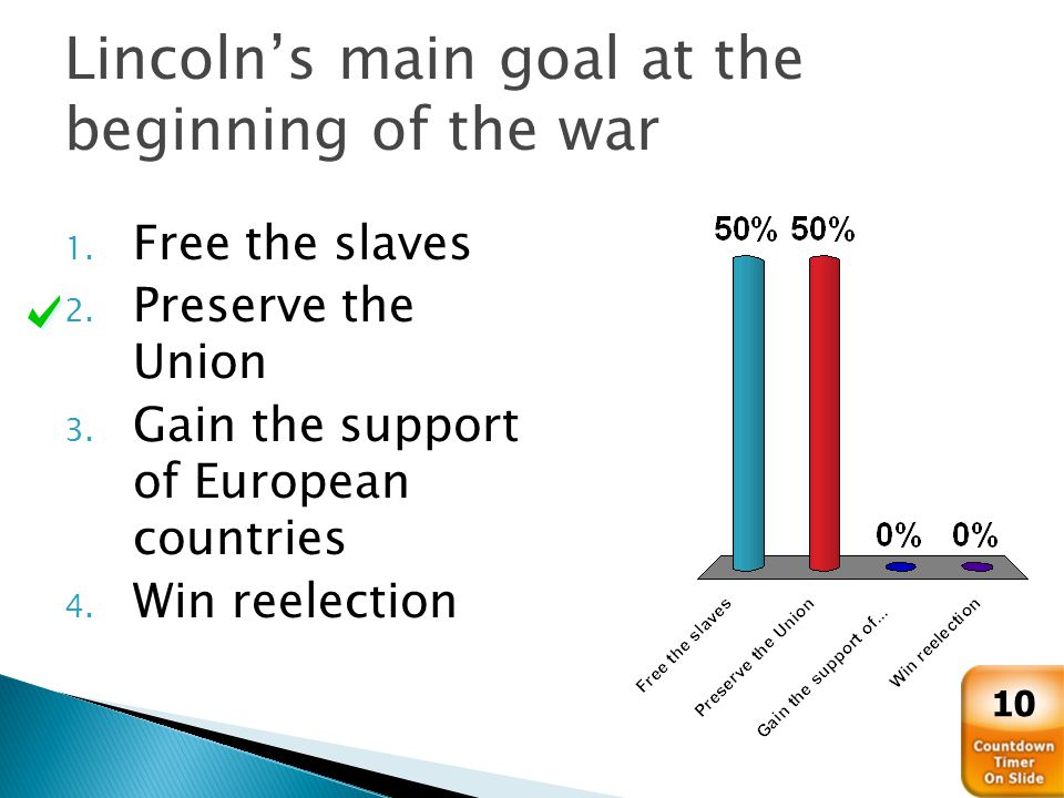 Lincoln's main goal at the beginning of the war 1.