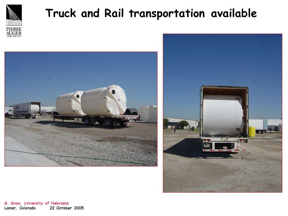 G. Snow, University of Nebraska Lamar, Colorado 22 October 2005 Truck and Rail transportation available