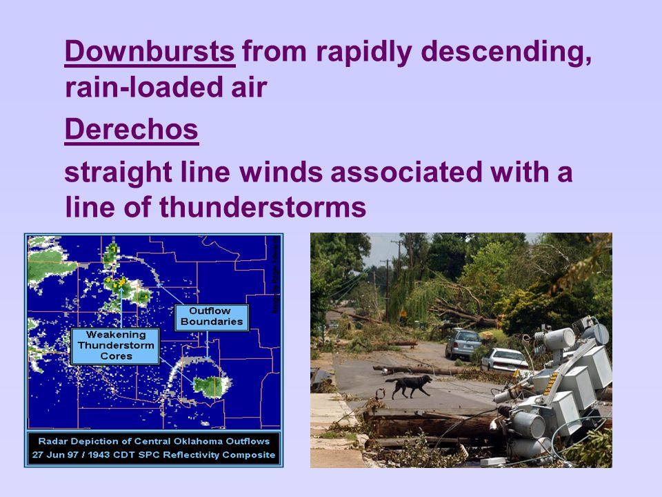 Downbursts from rapidly descending, rain-loaded air Derechos straight line winds associated with a line of thunderstorms