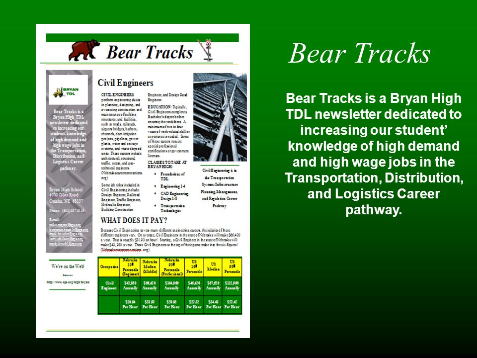 Bear Tracks Bear Tracks is a Bryan High TDL newsletter dedicated to increasing our student' knowledge of high demand and high wage jobs in the Transportation, Distribution, and Logistics Career pathway.