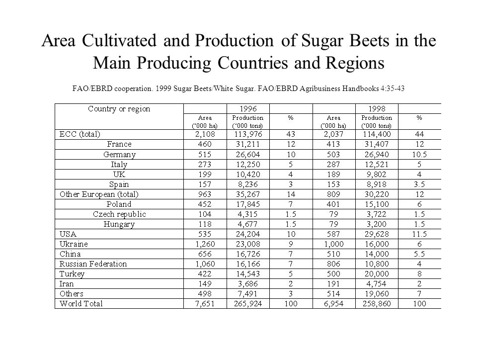 Area Cultivated and Production of Sugar Beets in the Main Producing Countries and Regions FAO/EBRD cooperation.