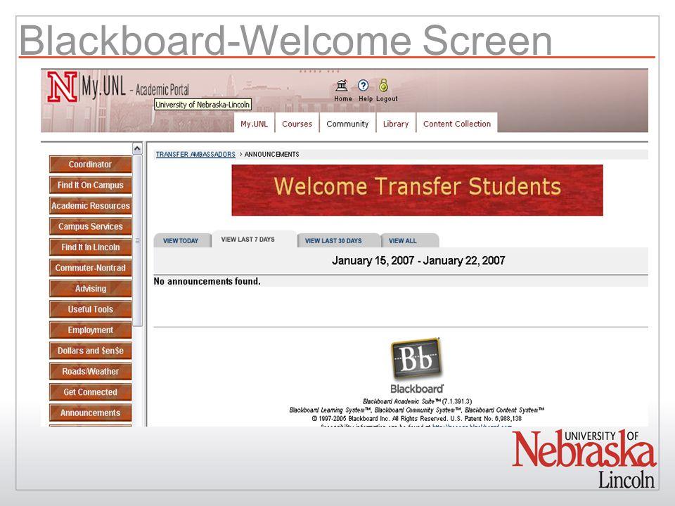 Blackboard-Welcome Screen