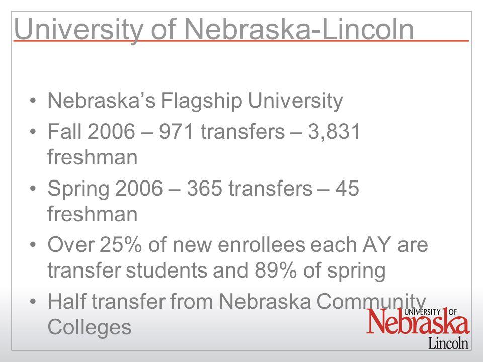 University of Nebraska-Lincoln Nebraska's Flagship University Fall 2006 – 971 transfers – 3,831 freshman Spring 2006 – 365 transfers – 45 freshman Over 25% of new enrollees each AY are transfer students and 89% of spring Half transfer from Nebraska Community Colleges