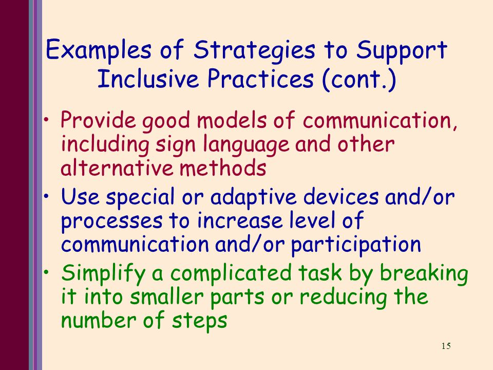 15 Examples of Strategies to Support Inclusive Practices (cont.) Provide good models of communication, including sign language and other alternative methods Use special or adaptive devices and/or processes to increase level of communication and/or participation Simplify a complicated task by breaking it into smaller parts or reducing the number of steps