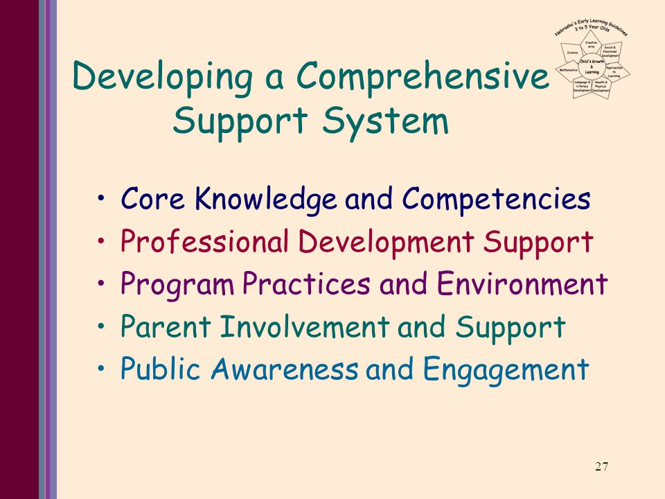 27 Developing a Comprehensive Support System Core Knowledge and Competencies Professional Development Support Program Practices and Environment Parent Involvement and Support Public Awareness and Engagement