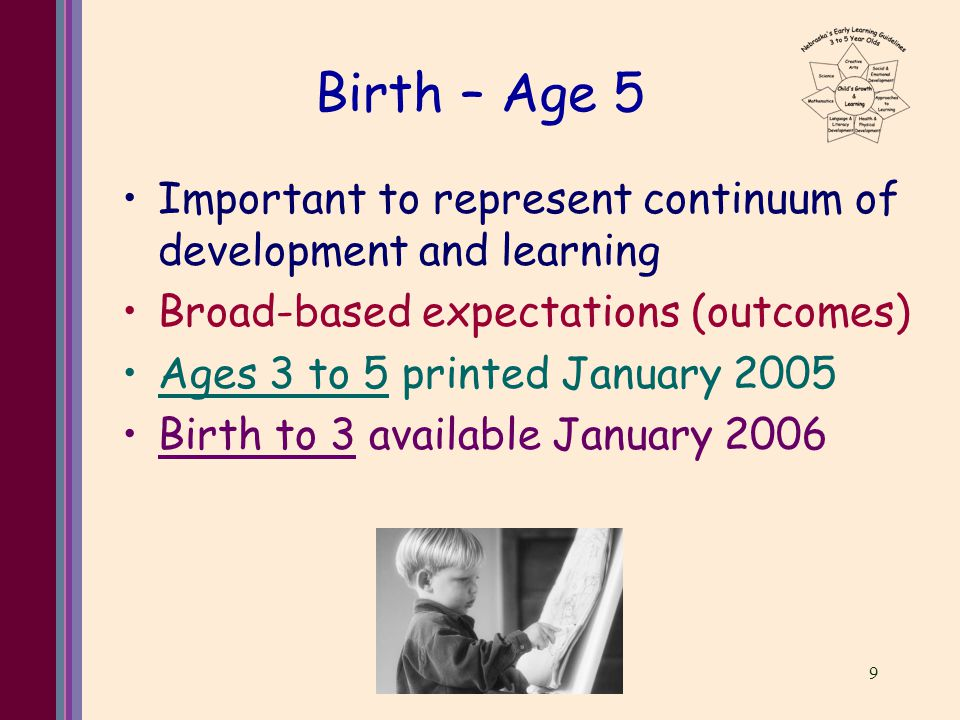 9 Birth – Age 5 Important to represent continuum of development and learning Broad-based expectations (outcomes) Ages 3 to 5 printed January 2005 Birth to 3 available January 2006