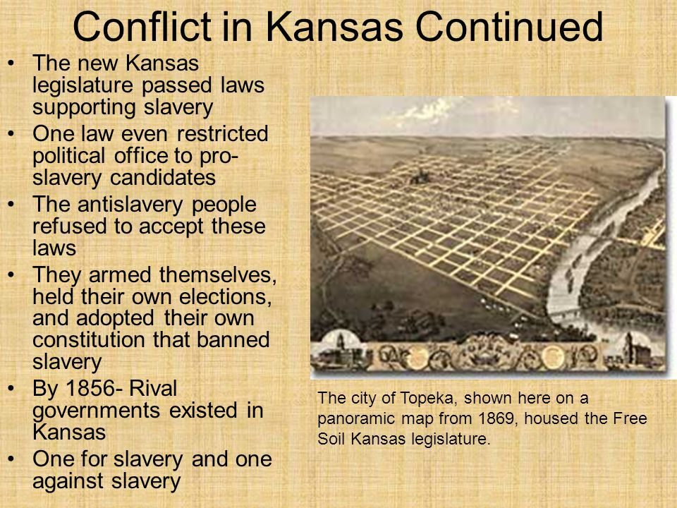 Conflict in Kansas Continued The new Kansas legislature passed laws supporting slavery One law even restricted political office to pro- slavery candid