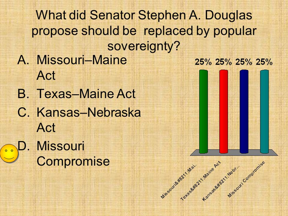 What did Senator Stephen A. Douglas propose should be replaced by popular sovereignty? A.Missouri–Maine Act B.Texas–Maine Act C.Kansas–Nebraska Act D.