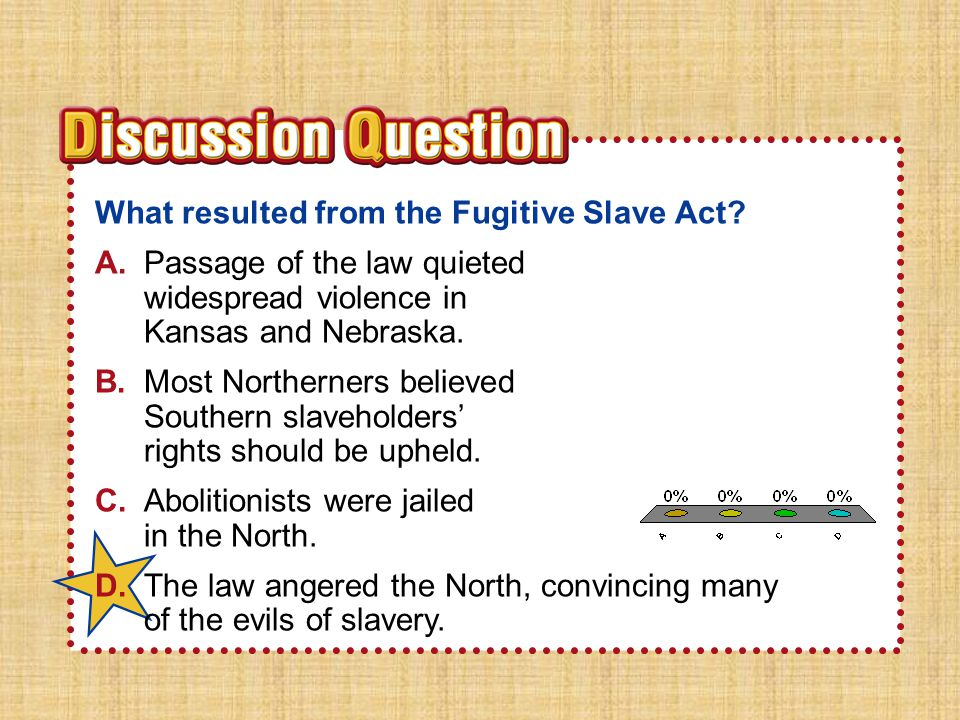 A.A B.B C.C D.D Section 2Section 2 What resulted from the Fugitive Slave Act? A.Passage of the law quieted widespread violence in Kansas and Nebraska.
