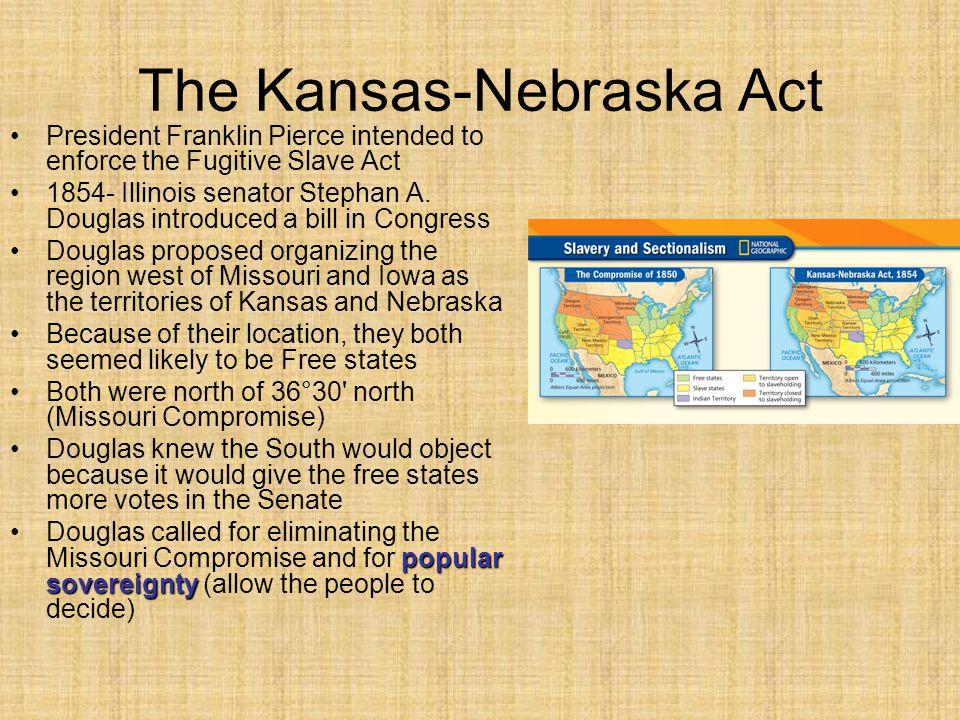 The Kansas-Nebraska Act President Franklin Pierce intended to enforce the Fugitive Slave Act 1854- Illinois senator Stephan A. Douglas introduced a bi