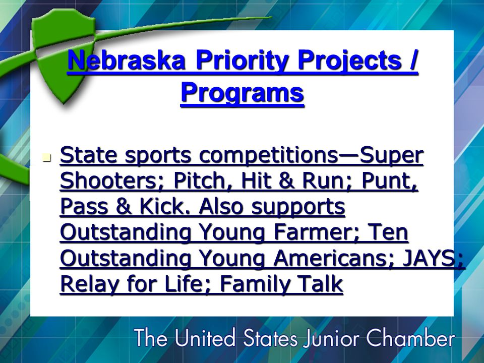 Nebraska Priority Projects / Programs State sports competitions—Super Shooters; Pitch, Hit & Run; Punt, Pass & Kick.