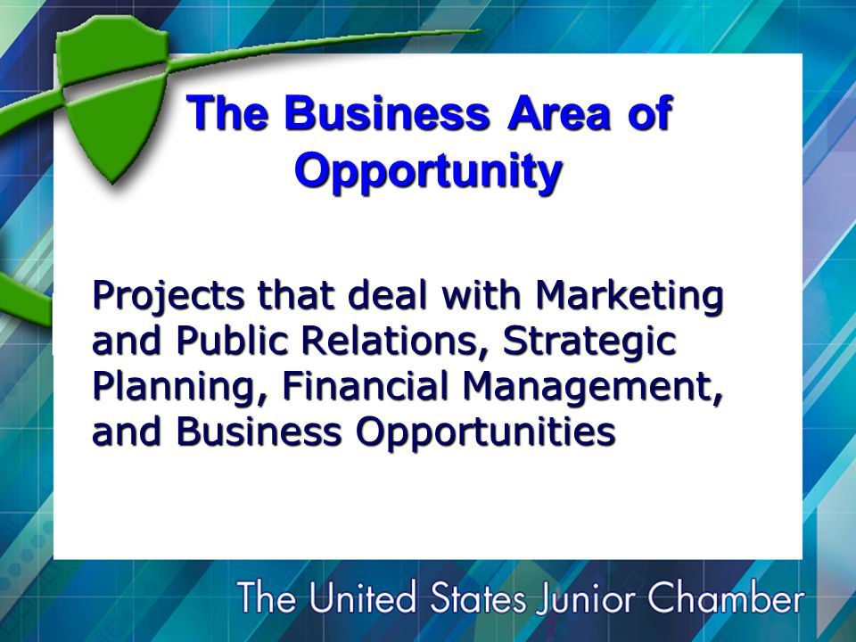 The Business Area of Opportunity Projects that deal with Marketing and Public Relations, Strategic Planning, Financial Management, and Business Opportunities