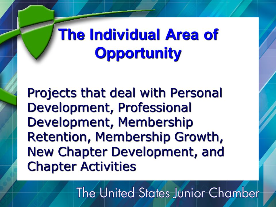 The Individual Area of Opportunity Projects that deal with Personal Development, Professional Development, Membership Retention, Membership Growth, New Chapter Development, and Chapter Activities
