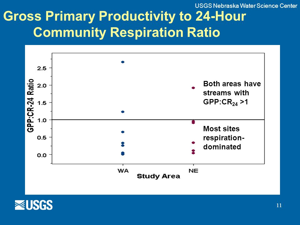 11 Gross Primary Productivity to 24-Hour Community Respiration Ratio Both areas have streams with GPP:CR 24 >1 Most sites respiration- dominated USGS