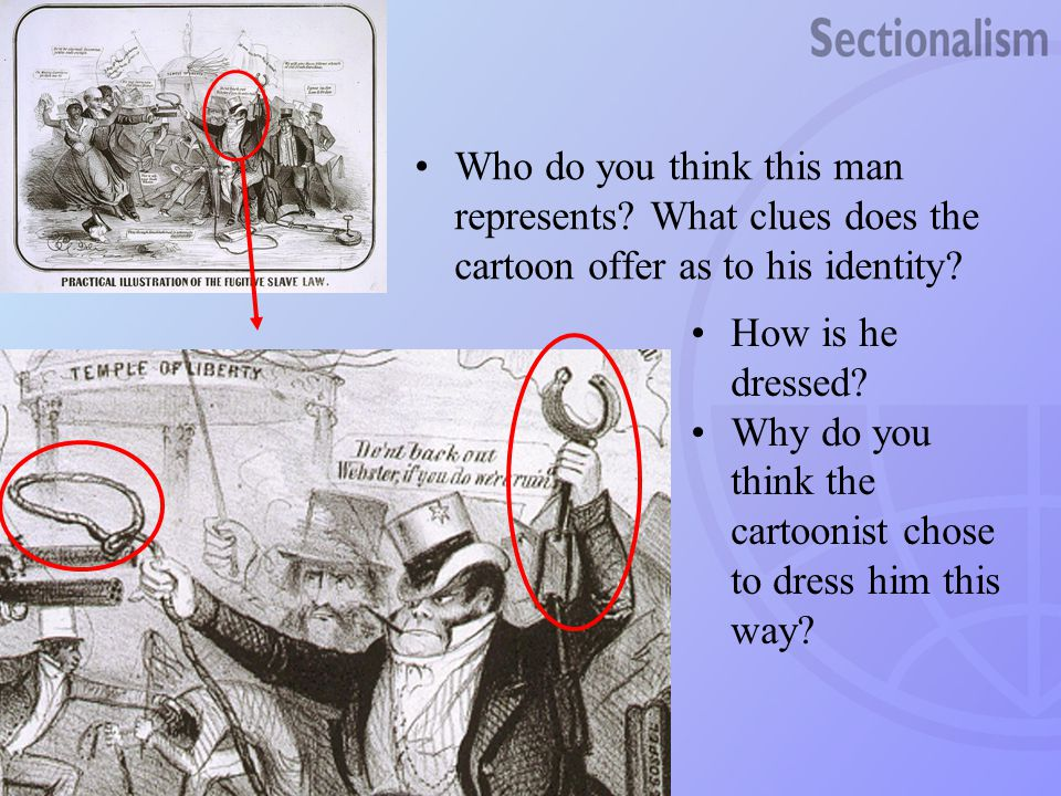 Who do you think this man represents? What clues does the cartoon offer as to his identity? How is he dressed? Why do you think the cartoonist chose t