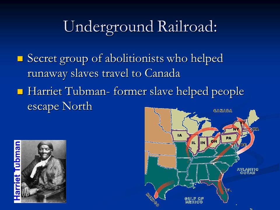 Underground Railroad: Secret group of abolitionists who helped runaway slaves travel to Canada Secret group of abolitionists who helped runaway slaves travel to Canada Harriet Tubman- former slave helped people escape North Harriet Tubman- former slave helped people escape North