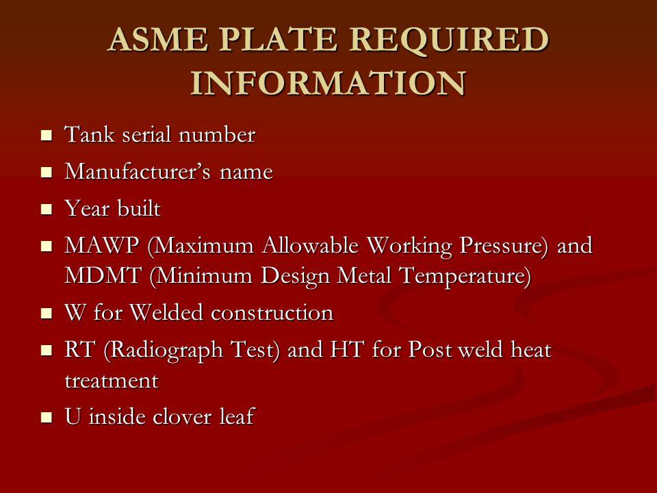 Other information found on ASME plates OS Dia.(Outside Diameter) OS Dia.