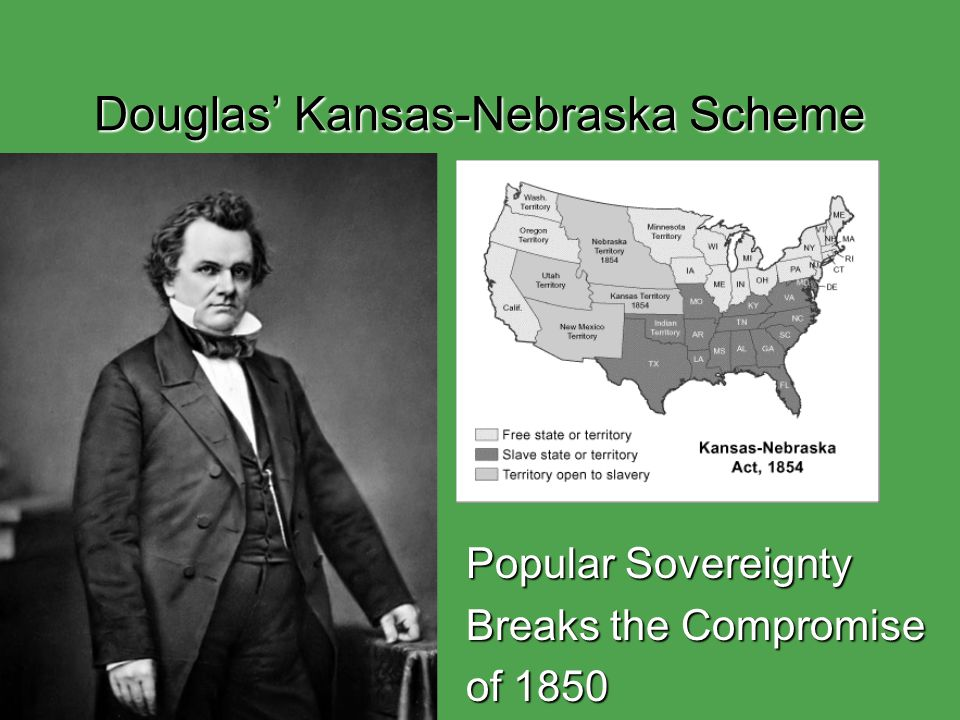 Douglas' Kansas-Nebraska Scheme Popular Sovereignty Breaks the Compromise of 1850
