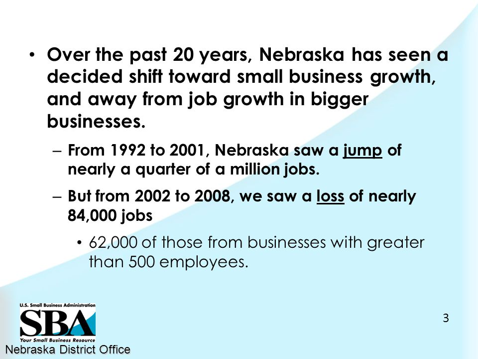 Over the past 20 years, Nebraska has seen a decided shift toward small business growth, and away from job growth in bigger businesses.