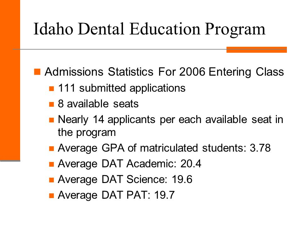 Idaho Dental Education Program Admissions Statistics For 2006 Entering Class 111 submitted applications 8 available seats Nearly 14 applicants per each available seat in the program Average GPA of matriculated students: 3.78 Average DAT Academic: 20.4 Average DAT Science: 19.6 Average DAT PAT: 19.7