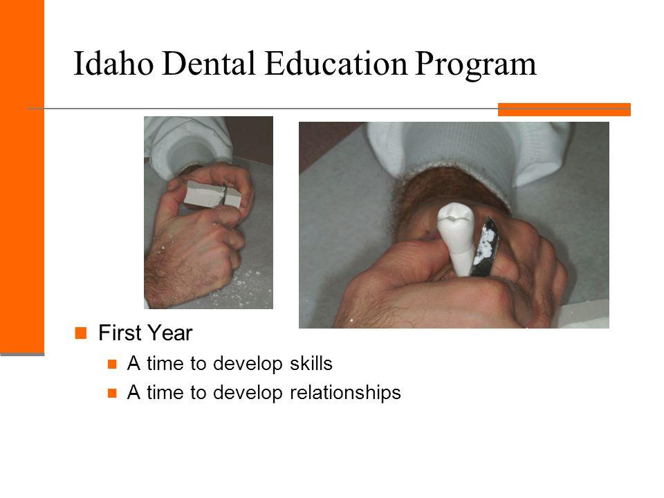 Idaho Dental Education Program First Year A time to develop skills A time to develop relationships