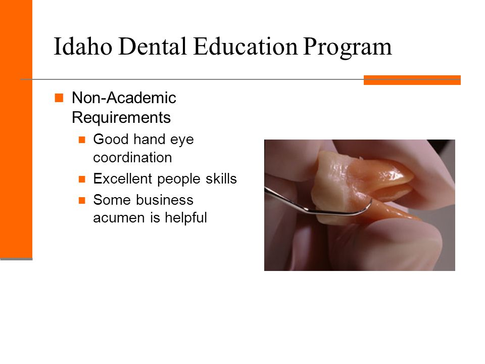 Idaho Dental Education Program Non-Academic Requirements Good hand eye coordination Excellent people skills Some business acumen is helpful