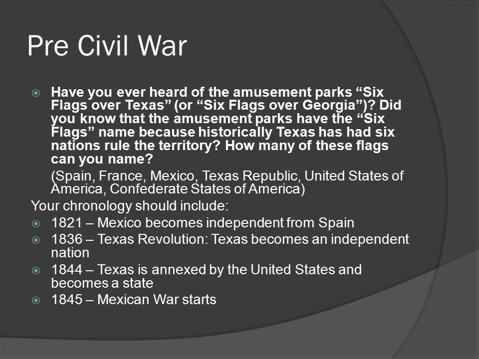 """Pre Civil War  Have you ever heard of the amusement parks """"Six Flags over Texas"""" (or """"Six Flags over Georgia"""")? Did you know that the amusement parks"""