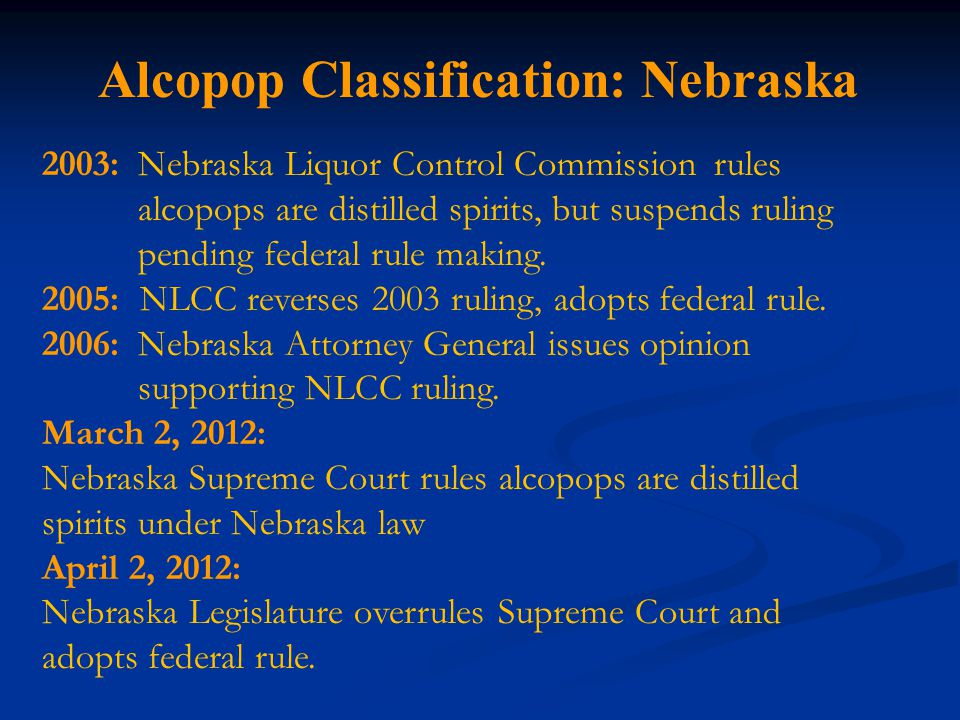 Alcopop Classification: Nebraska 2003:Nebraska Liquor Control Commission rules alcopops are distilled spirits, but suspends ruling pending federal rule making.