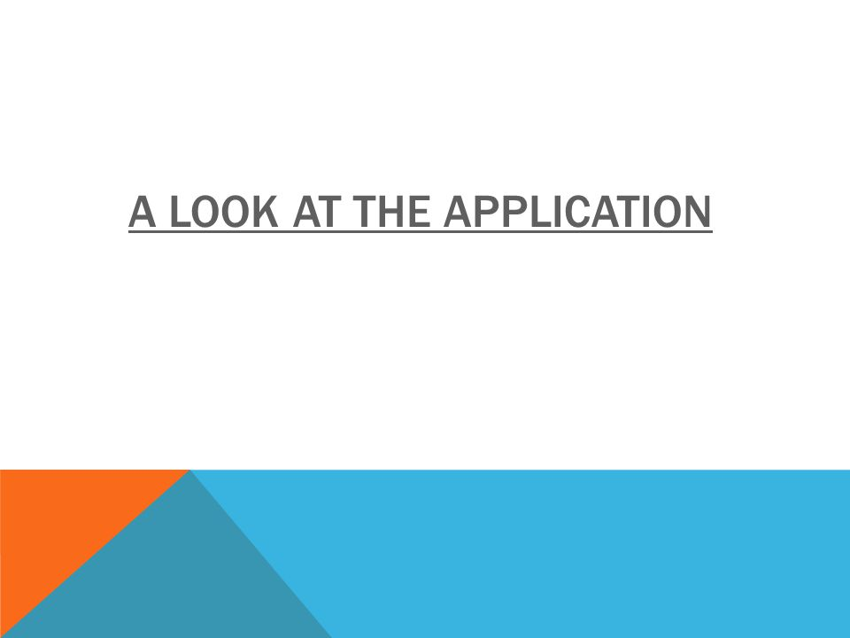A LOOK AT THE APPLICATION
