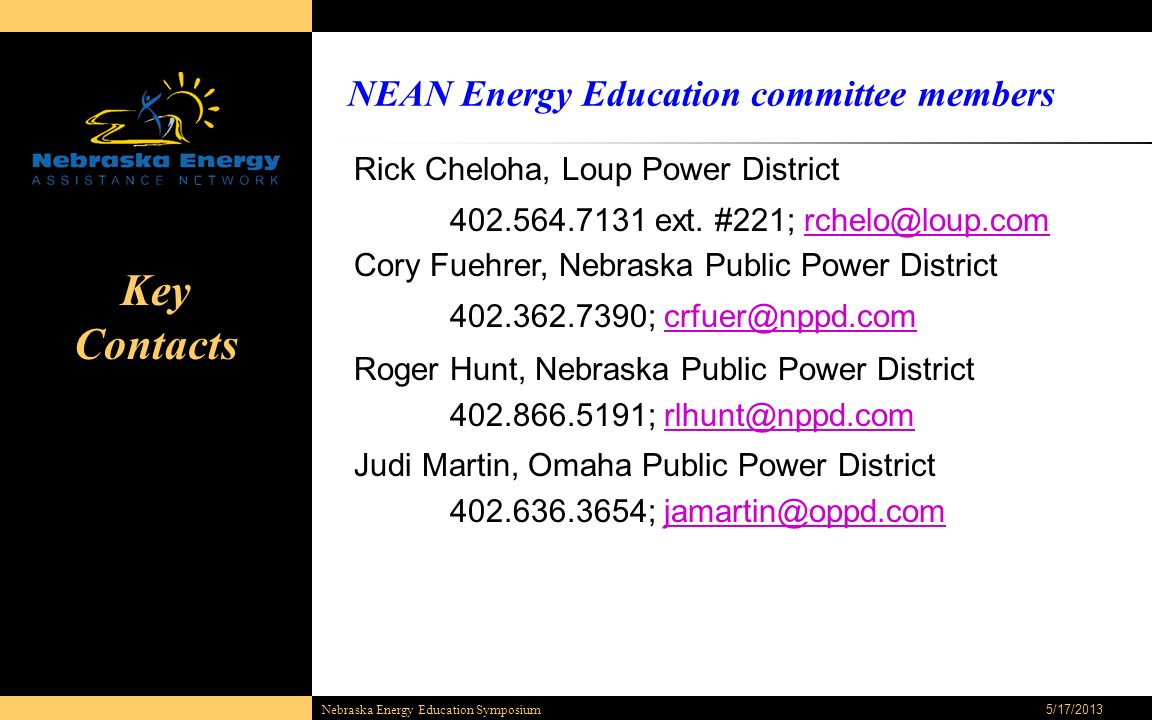 5/17/2013 Nebraska Energy Education Symposium Rick Cheloha, Loup Power District 402.564.7131 ext. #221; rchelo@loup.comrchelo@loup.com Cory Fuehrer, N