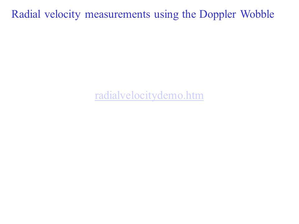 radialvelocitydemo.htm 8 Radial velocity measurements using the Doppler Wobble