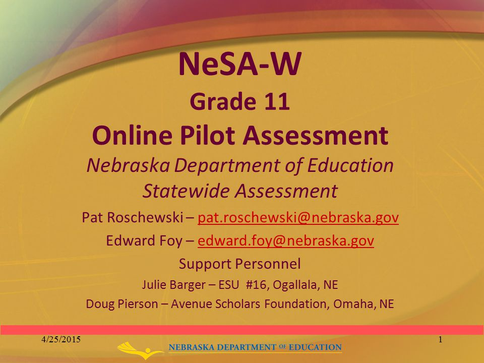 NeSA-W Grade 11 Online Pilot Assessment Nebraska Department of Education Statewide Assessment Pat Roschewski – pat.roschewski@nebraska.govpat.roschews