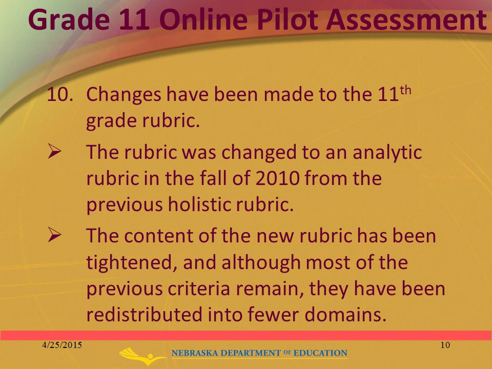 Grade 11 Online Pilot Assessment 10.Changes have been made to the 11 th grade rubric.  The rubric was changed to an analytic rubric in the fall of 20