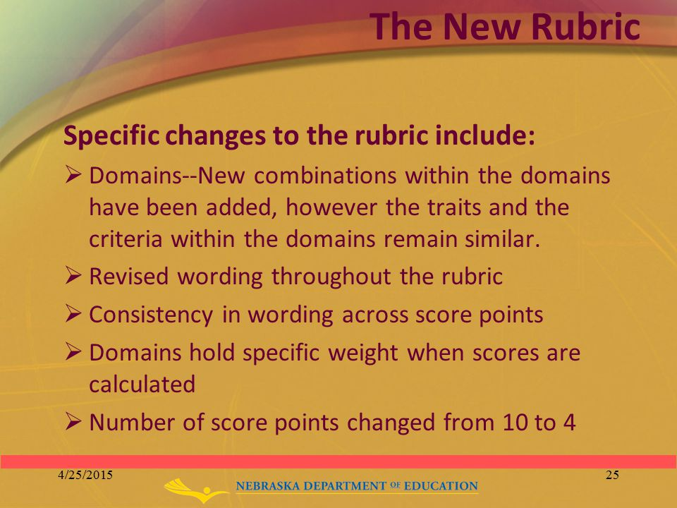 The New Rubric Specific changes to the rubric include:  Domains--New combinations within the domains have been added, however the traits and the crit