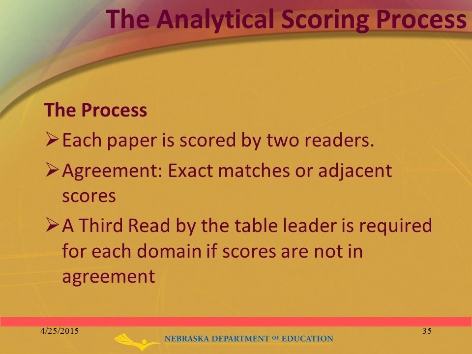 The Analytical Scoring Process The Process  Each paper is scored by two readers.  Agreement: Exact matches or adjacent scores  A Third Read by the