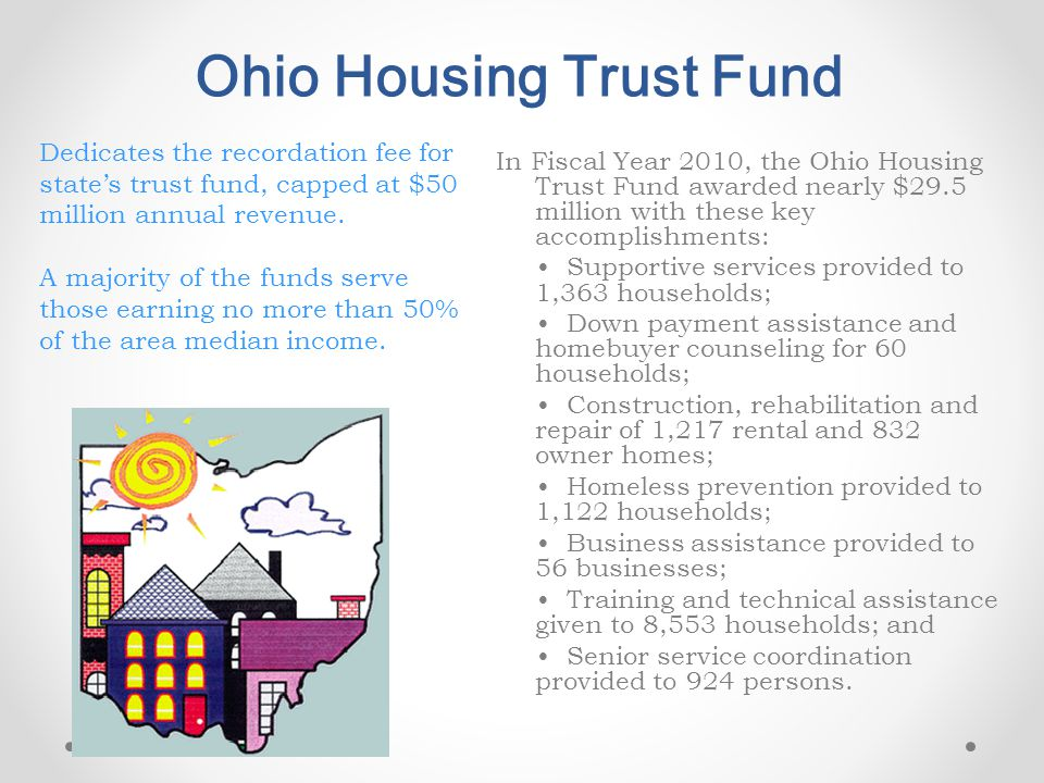 Ohio Housing Trust Fund In Fiscal Year 2010, the Ohio Housing Trust Fund awarded nearly $29.5 million with these key accomplishments: Supportive servi