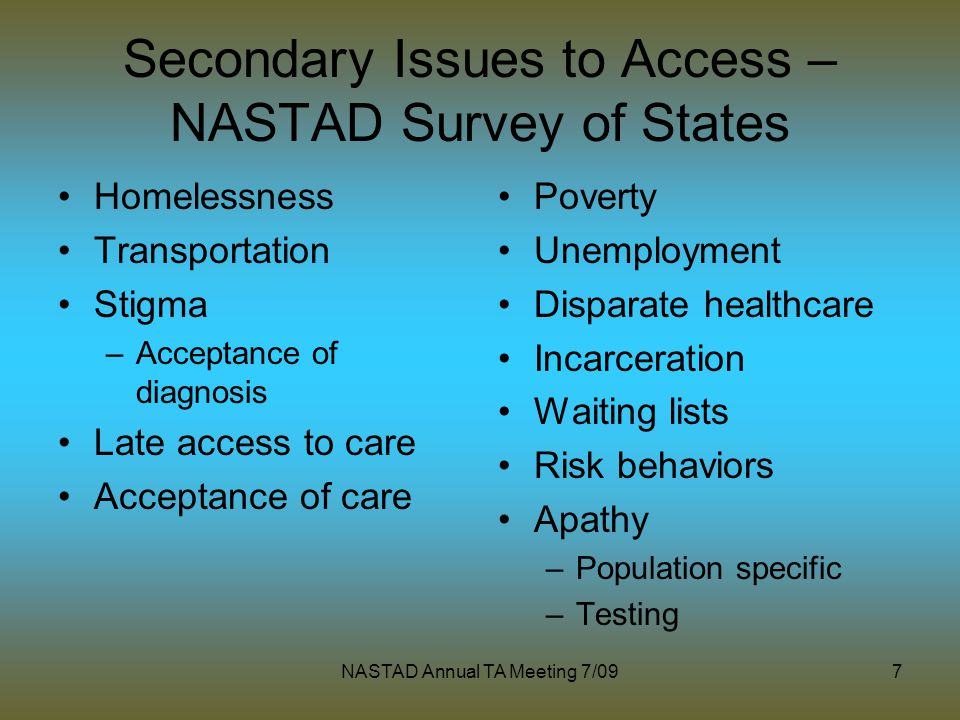 NASTAD Annual TA Meeting 7/097 Secondary Issues to Access – NASTAD Survey of States Homelessness Transportation Stigma –Acceptance of diagnosis Late a