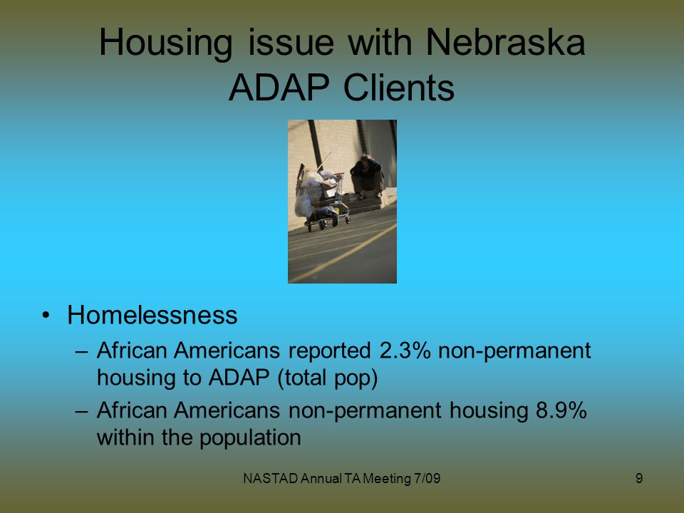 NASTAD Annual TA Meeting 7/099 Housing issue with Nebraska ADAP Clients Homelessness –African Americans reported 2.3% non-permanent housing to ADAP (total pop) –African Americans non-permanent housing 8.9% within the population