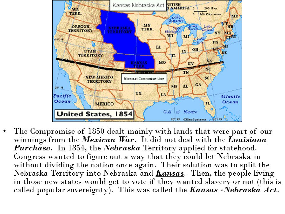 The Compromise of 1850 dealt mainly with lands that were part of our winnings from the Mexican War.