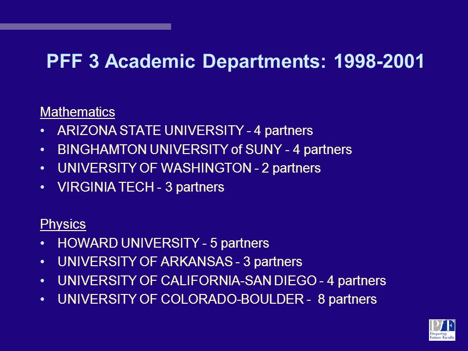 PFF 3 Academic Departments: 1998-2001 Mathematics ARIZONA STATE UNIVERSITY - 4 partners BINGHAMTON UNIVERSITY of SUNY - 4 partners UNIVERSITY OF WASHINGTON - 2 partners VIRGINIA TECH - 3 partners Physics HOWARD UNIVERSITY - 5 partners UNIVERSITY OF ARKANSAS - 3 partners UNIVERSITY OF CALIFORNIA-SAN DIEGO - 4 partners UNIVERSITY OF COLORADO-BOULDER - 8 partners