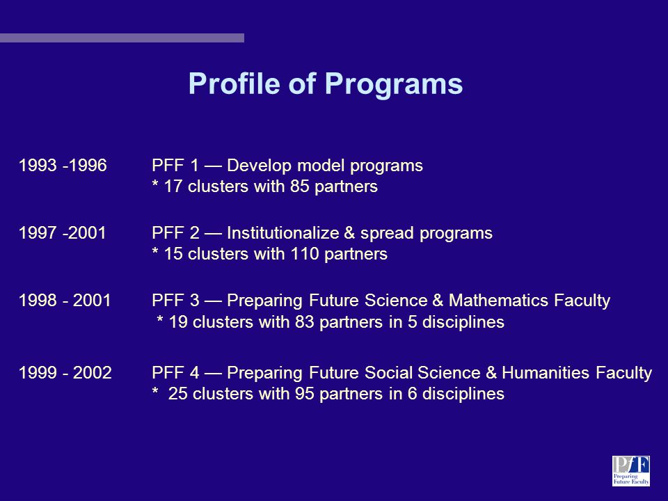 PFF 3 Academic Departments: 1998-2001 Mathematics ARIZONA STATE UNIVERSITY - 4 partners BINGHAMTON UNIVERSITY of SUNY - 4 partners UNIVERSITY OF WASHINGTON - 2 partners VIRGINIA TECH - 3 partners Physics HOWARD UNIVERSITY - 5 partners UNIVERSITY OF ARKANSAS - 3 partners UNIVERSITY OF CALIFORNIA-SAN DIEGO - 4 partners UNIVERSITY OF COLORADO-BOULDER - 8 partners