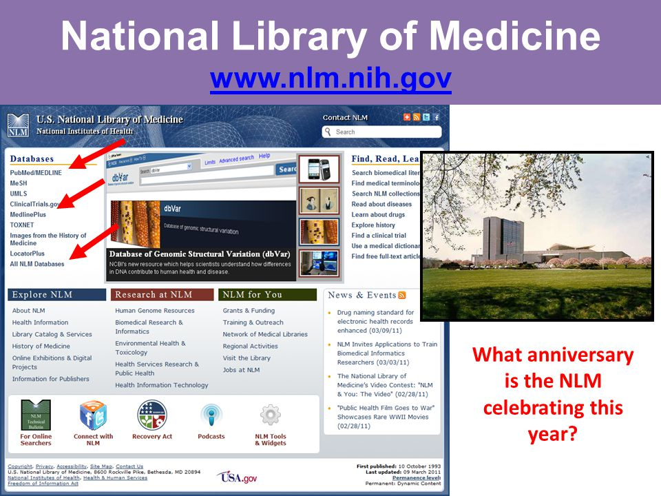 National Library of Medicine www.nlm.nih.gov www.nlm.nih.gov What anniversary is the NLM celebrating this year?
