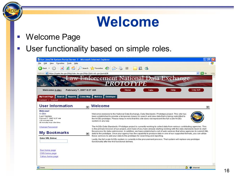 16 Welcome  Welcome Page  User functionality based on simple roles.